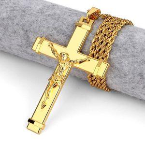SAUTOIR ET COLLIER Jésus croix pendentif collier or jaune 18k plaqué
