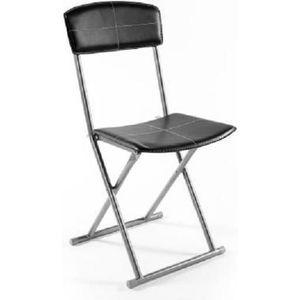 CHAISE Chaise pliante simil-cuir noir Stella