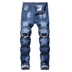 PANTALON Jeans homme de marque luxe Jean trou de genou slim