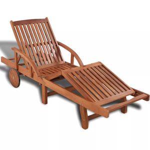 CHAISE LONGUE Chaise longue Bois d'acacia massif 200 x 68 x 83 c