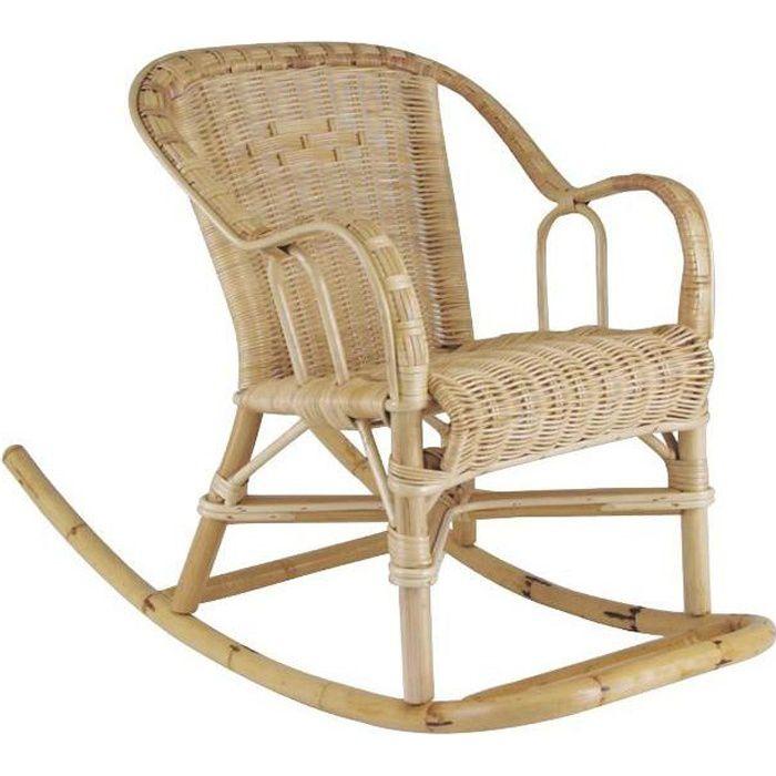 Rocking chair chloé en rotin 41x75x52cm
