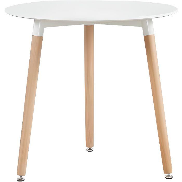 HJ Table à manger ronde de 2 à 4 personnes scandinave blanc laqué-pieds en bois hêtre massif-80 x 80cm