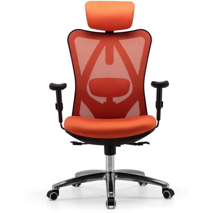 SIHOO Chaise de Bureau Ergonomique, Chaise de Siège Confortable, Fauteuil pivotant en Maille avec Support Lombaire et accoudoir régl