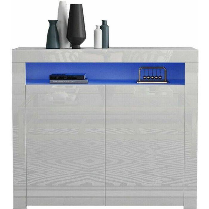 Buffet bas LED contemporain blanc laqué brillant - L 108 cm - Moderne - 2 portes