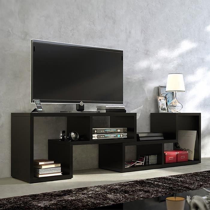 Laras Meuble TV Bibliothèque en Bois de Salon Combinaisons Multiples noir