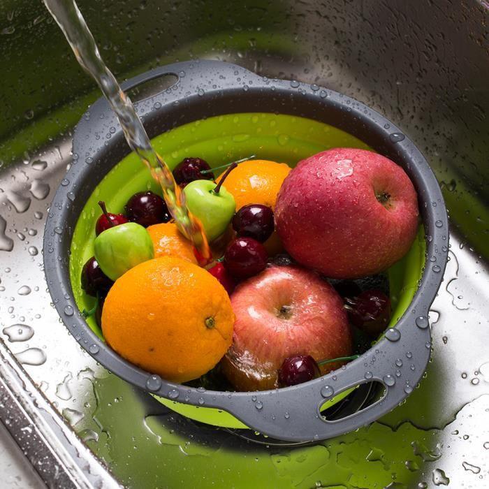 Passoires pliables silicone lave vaisselle verte – Lot de 2