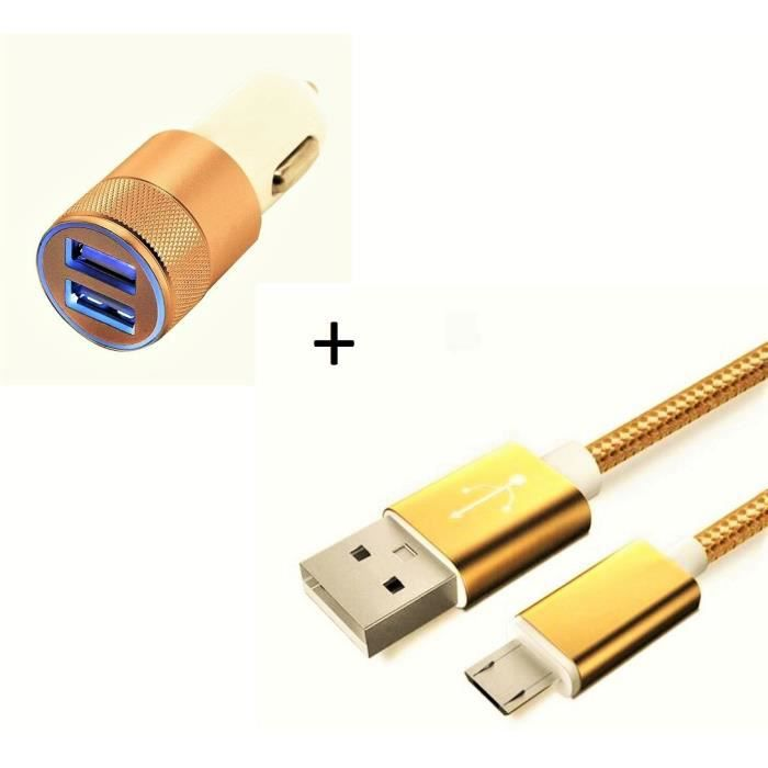 Pack Chargeur Voiture pour HUAWEI P30 lite Smartphone Micro-USB (Cable Metal Nylon + Double Adaptateur Allume Cigare) (OR)
