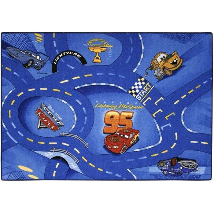 CARS Tapis enfant circuit voiture Bleu 95 x 133 cm