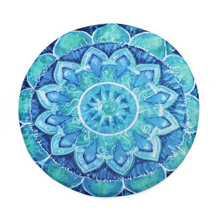 Tapis De Sol Rond Tapis De Yoga Salon Table 100X100CM BLEU