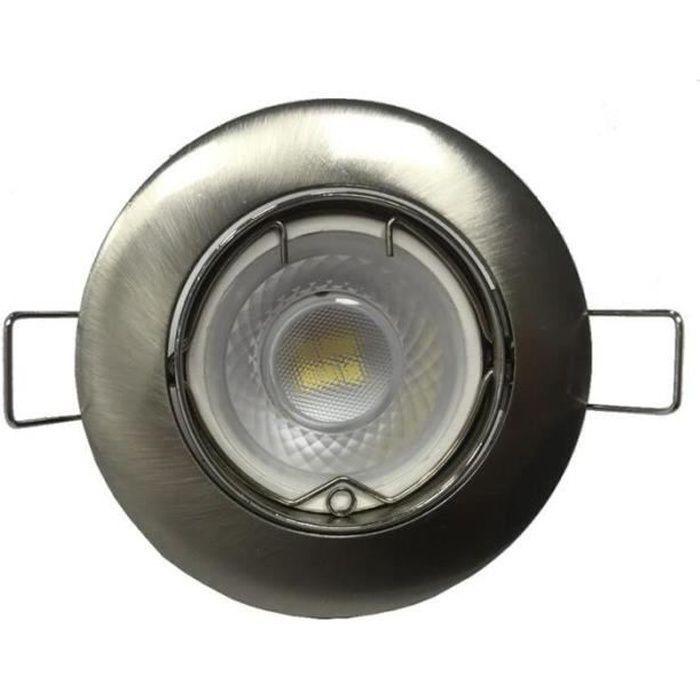 Kit Spot LED GU10 Encastrable Orientable 8W Rond Inox (Pack de 10) - Blanc Chaud 2300k - 3500k - SILUMEN