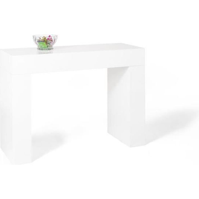 Mobili Fiver, Table console, Evolution, Blanc laqué brillant, Mélaminé, Made in Italy