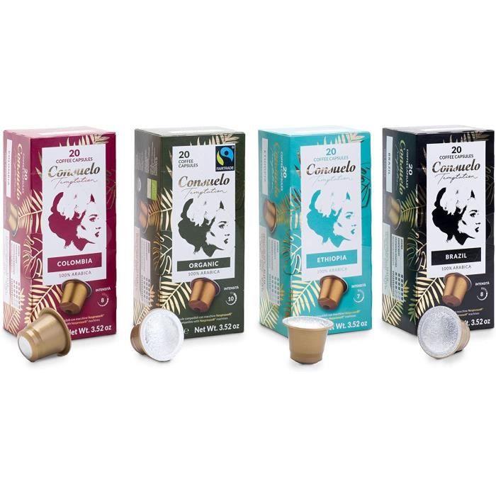 Lot de 80 capsules de café Consuelo de diverses sortes compatibles avec les machines Nespresso* (20 x 4 boîtes)