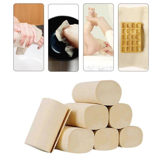 Zerone rouleau de papier toilette 10 rouleaux de papier toilette rouleau de papier de toilette natif pâte de bambou doux bain