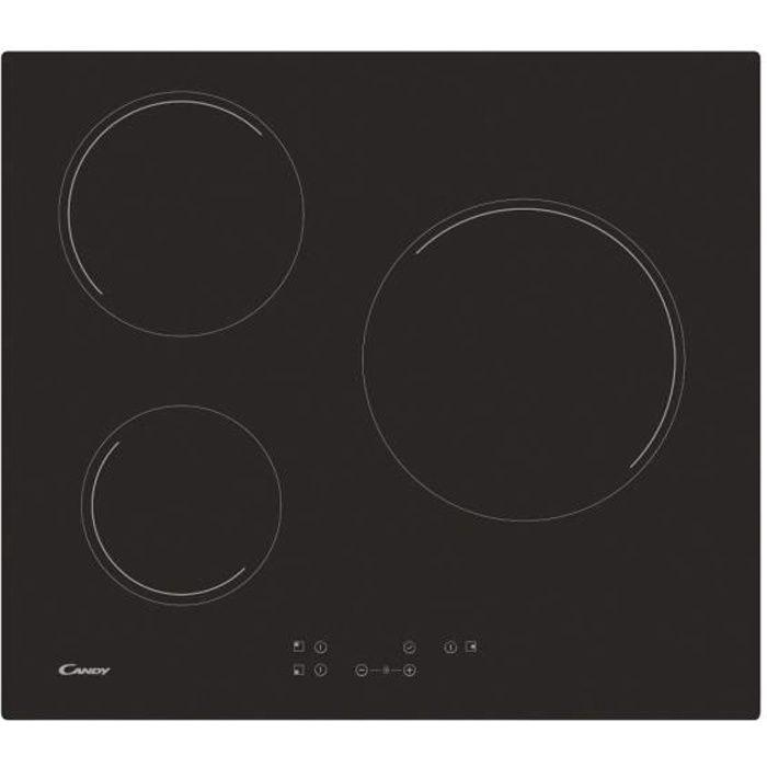 CANDY CH63CT - Plaque vitroceramique -60 cm - 3 Foyers - Noir