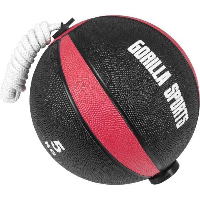 Gorilla Sports - Ballon d'exercice avec corde de- tornado ball disponible en 1kg, 2kg, 3kg et 5kg - 5 KG Noir