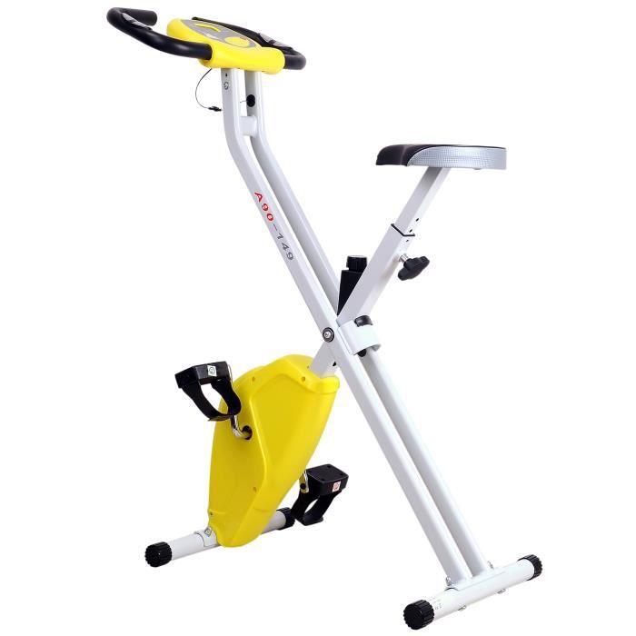 Vélo d'appartement cardio Fitness pliable écran LCD 8 niveaux de résistance selle réglable 83x43x110cm Jaune