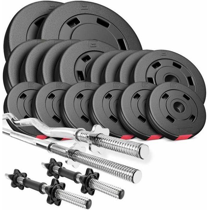 HS Hop-Sport Set PREMIUM de 75kg (1x barre 167cm + 1x barre curl 120cm + 2x barres 45cm/ 2x10kg + 4x5kg + 4x2,5kg + 6x1,25kg)
