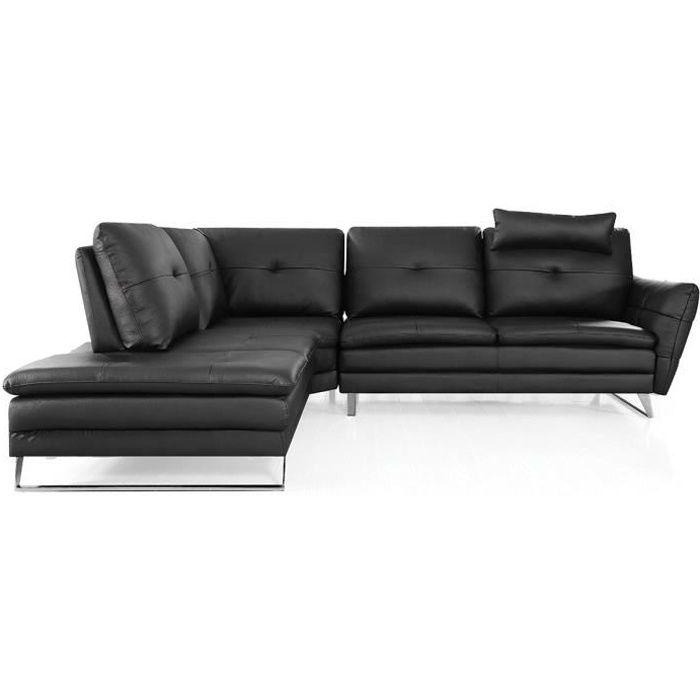 Canapé d'angle gauche en cuir ELENA - Gauche - Noir