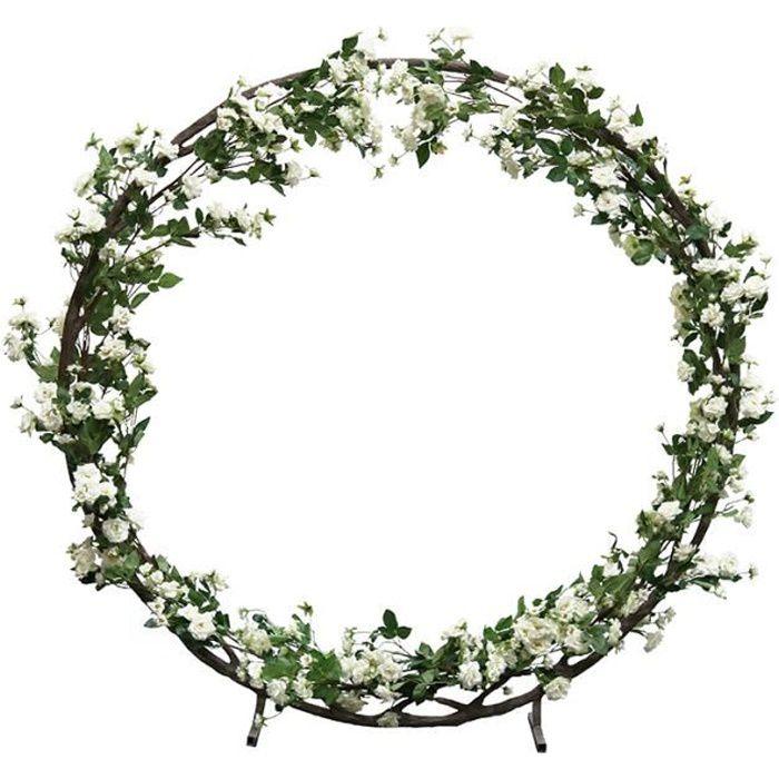 Ligne Déco - Arche mariage géante - arche ronde de roses artificielles blanches en couronne - Diamètre 2 m -