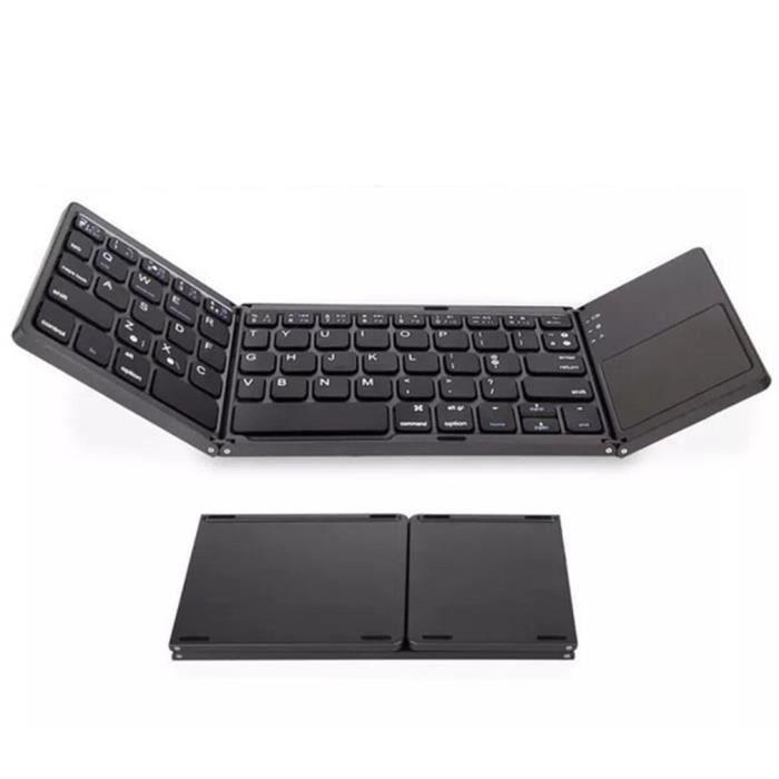 Clavier Pliable sans Fil et Filaire Bluetooth avec Pavé Tactile Rechargeable Portable pour PC, Tablette Android, iPad-noir