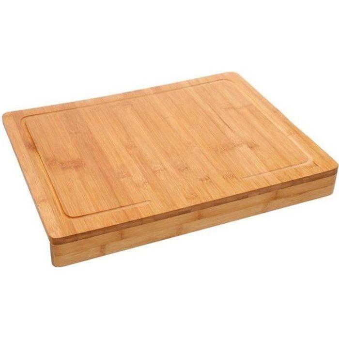 Planche à découper avec rebord en bambou coloris naturel - Dim : L. 45 x l. 34,5 cm
