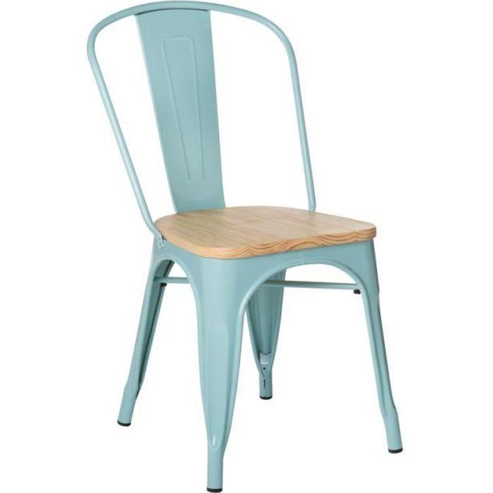 SKLUM - Chaise LIX en acier et assise bois naturel - Bleu Ile Paradis