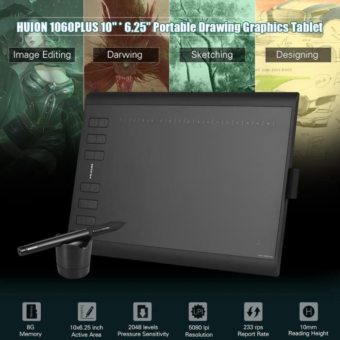 Huion 1060Plus Table à dessin Tablette Graphique avec 8G Carte Mémoire Rechargeable Stylo Numérique(10