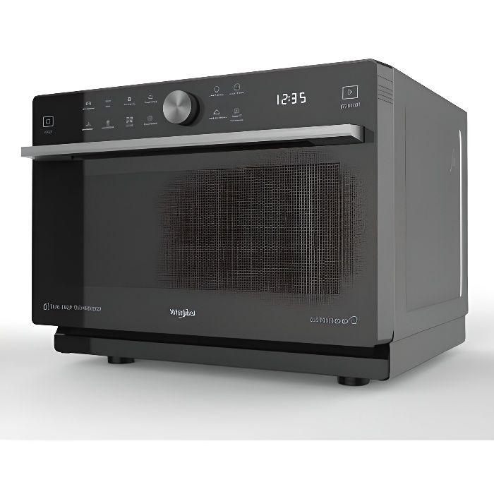 Combiné-33L 1000W+Gril+Chal. brassée+Vapeur-57 P Chef Menu-6è Sens-Crisp-Cav. peinte-Noir-silver