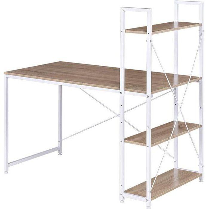 WOLTU Table de bureau en Bois et acier, Bureau d'ordinateur avec étagère de Rangement 120x64x120 cm, Blanc+chêne Clair