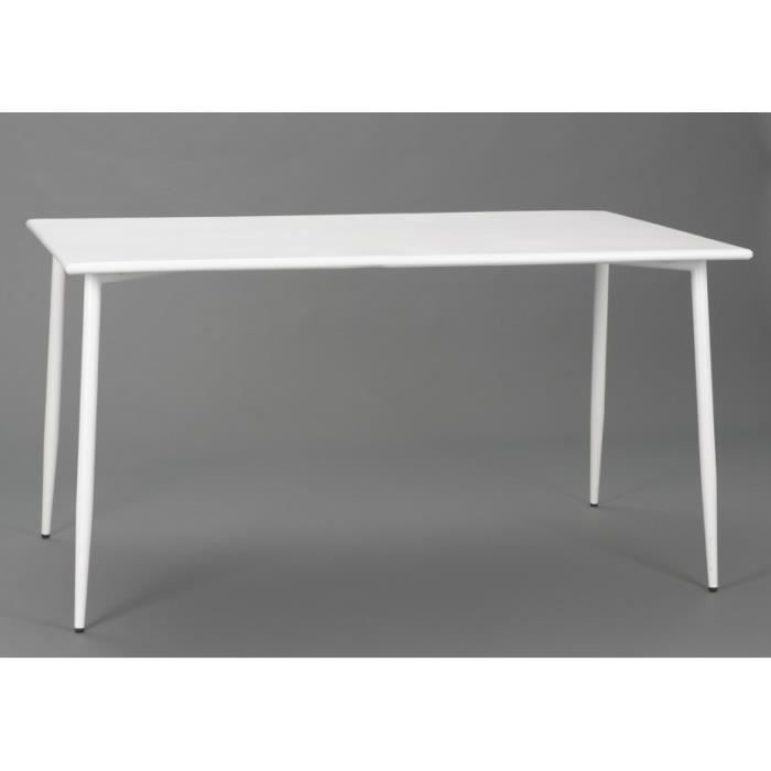 Table rectangulaire scandinave en acier blanc epoxy for Table rectangulaire scandinave