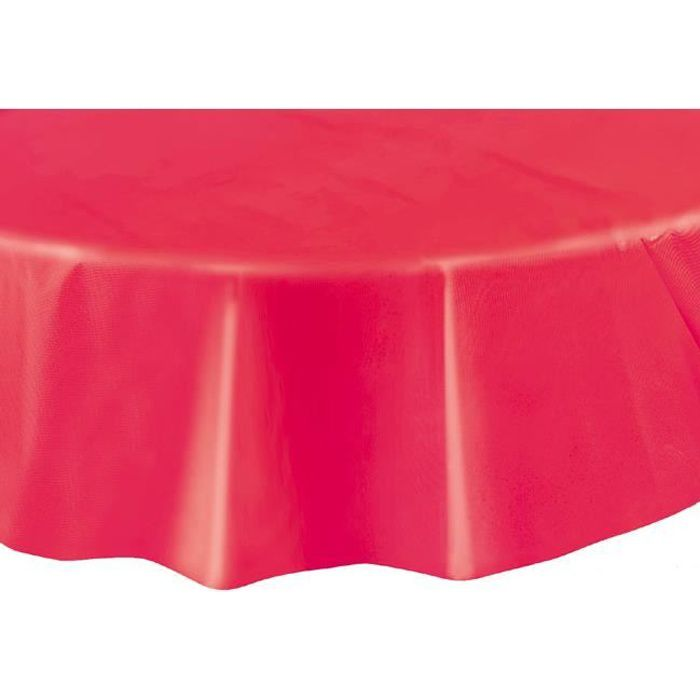 nappe plastique ronde rouge achat vente nappe de table jetable cdiscount. Black Bedroom Furniture Sets. Home Design Ideas