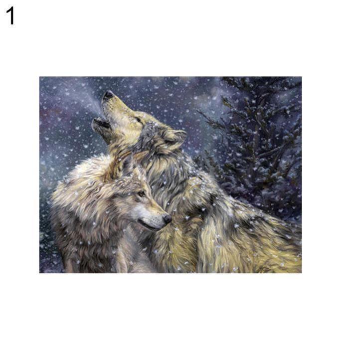 Wolf Eagle Propylène Peinture par numéros peinte à la main Toile Wall Art Home Decor