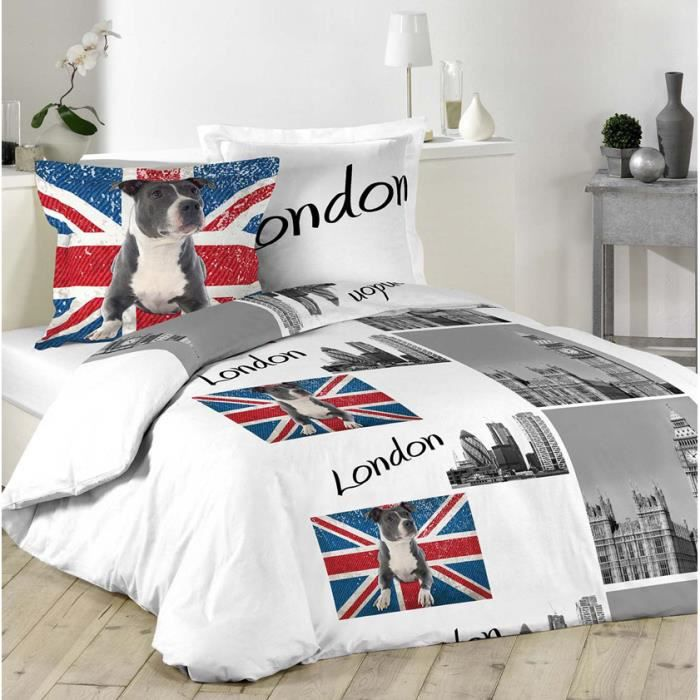 parure housse de couette enfant london et pit bull terrier 220x240 100 coton union jack. Black Bedroom Furniture Sets. Home Design Ideas