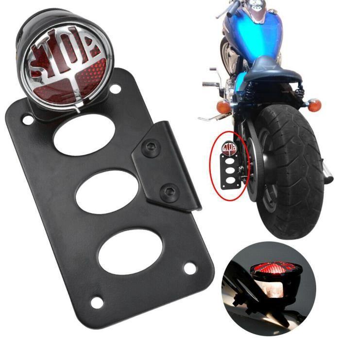 G/én/érique Support de Plaque dimmatriculation lat/érale pour Moto Harley Chopper