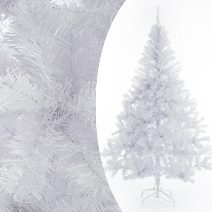 Sapin de Noël artificiel blanc 180 cm Décoration fête Arbre de
