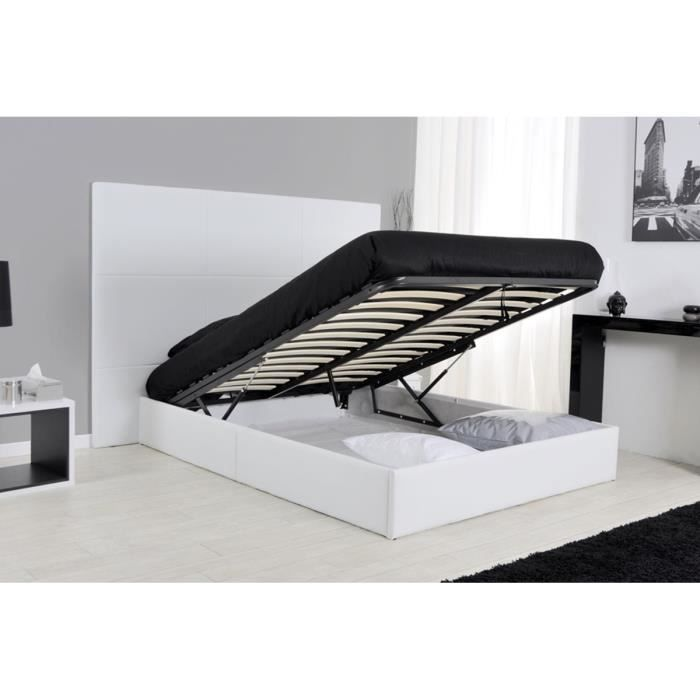 lit coffre sommier cm blanc elora achat vente sommier cdiscount. Black Bedroom Furniture Sets. Home Design Ideas