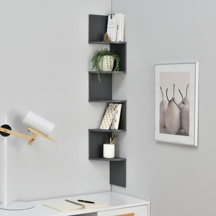 tag re murale suspendre tag re coin tag re des livres zigzag gris achat vente meuble. Black Bedroom Furniture Sets. Home Design Ideas