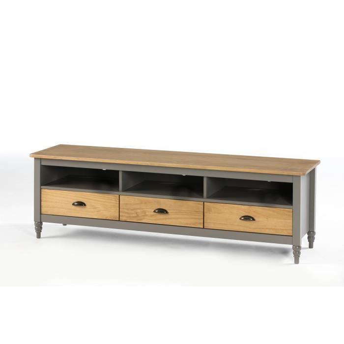 MEUBLE TV IRENE Meuble TV 3 tiroirs - Décor gris ciré - L 15