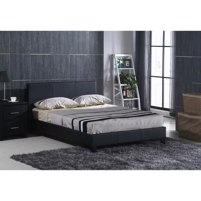 monarch lit adulte sommier inclus 160x200cm noir achat. Black Bedroom Furniture Sets. Home Design Ideas