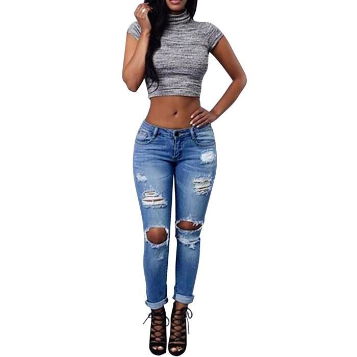 jean trou femme grande taille d chir genou pantalon denim asymetrique lastique cigarette. Black Bedroom Furniture Sets. Home Design Ideas