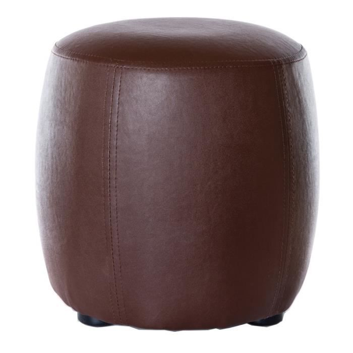 paris prix pouf rond pu marron 31 5cm achat vente pouf poire cuir cdiscount. Black Bedroom Furniture Sets. Home Design Ideas