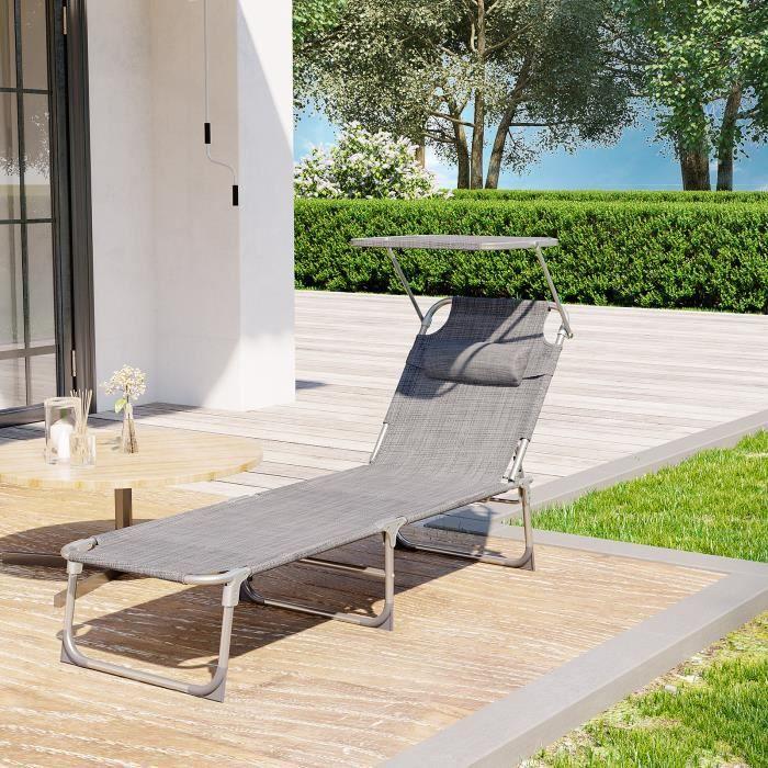 FLORABEST Aluminium Inclinable Transat pliant jardin terrasse balcon
