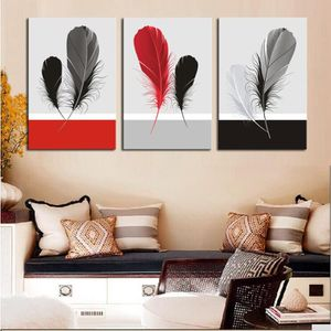 TABLEAU - TOILE 3 pcs/set Plumes grises rouges et gris toile mural