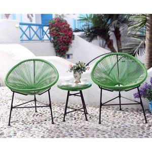 Salon de jardin plastique Vert - Achat / Vente Salon de ...