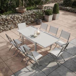 SALON DE JARDIN  Table de jardin extensible aluminium-verre 90-180c