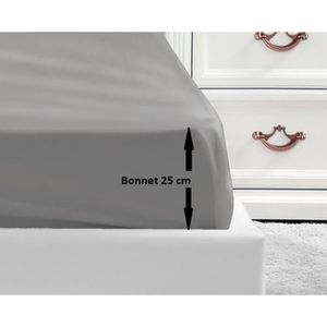 DRAP HOUSSE LOVELY HOME Drap Housse 100% coton 160x200x25 cm g