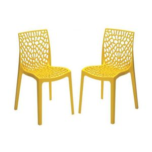 CHAISE Lot de 2 Chaises Design Jaunes Opaques FILET