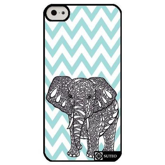 coque iphone 5c elephant chevrons verts ref