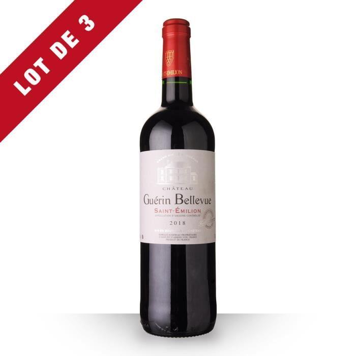 Lot de 3 - Château Guérin Bellevue 2018 AOC Saint-Emilion - 3x75cl - Vin Rouge