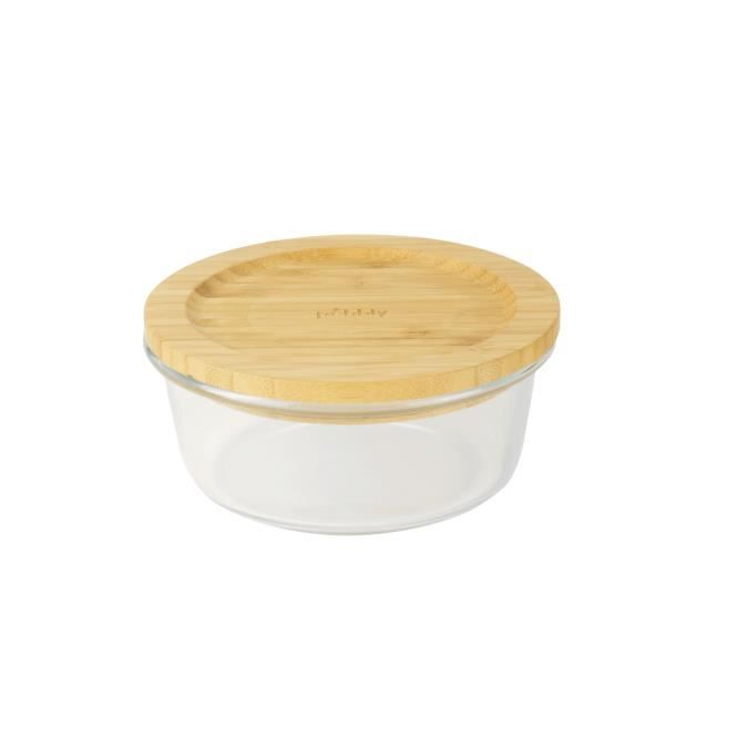 Boîte ronde en verre avec couvercle en bambou